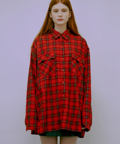 *Default*オーバーサイズチェックシャツジャケット(レッド)