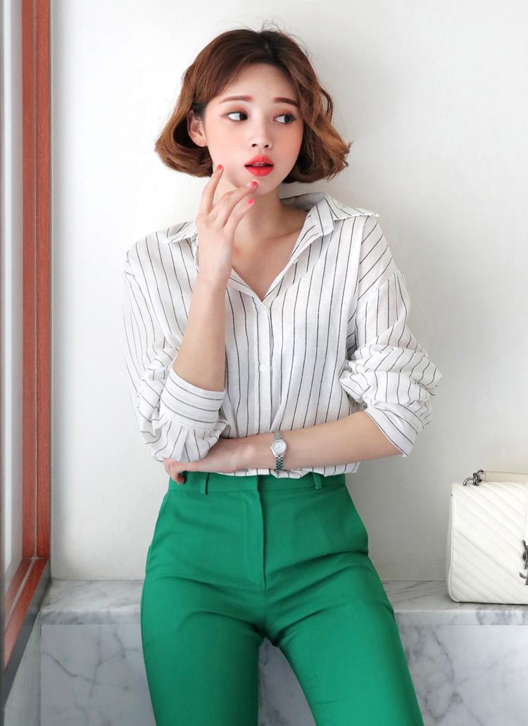 リネン混ストライプシャツ・全4色
