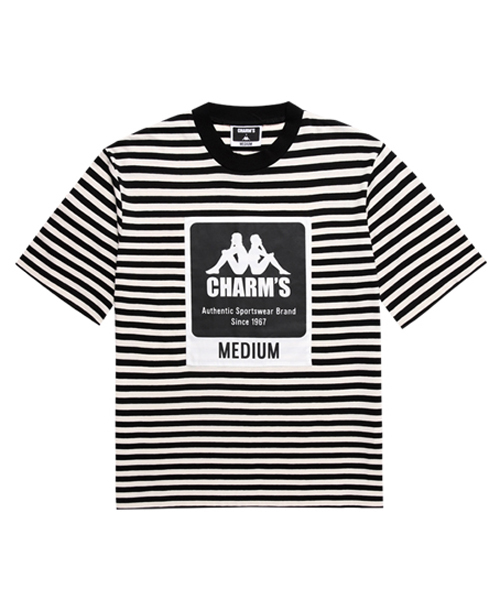 *CHARMS*CHARMS X KAPPAストライプラベルショートスリーブドTシャツWH