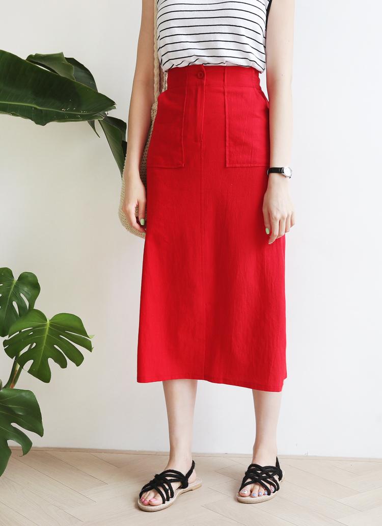 ポケットスリットロングスカート・全4色