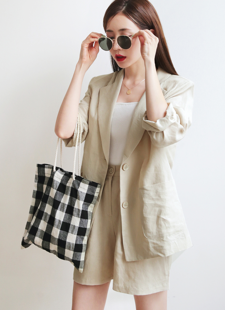 リネンアウトポケットジャケット&タックショートパンツSET・全3色