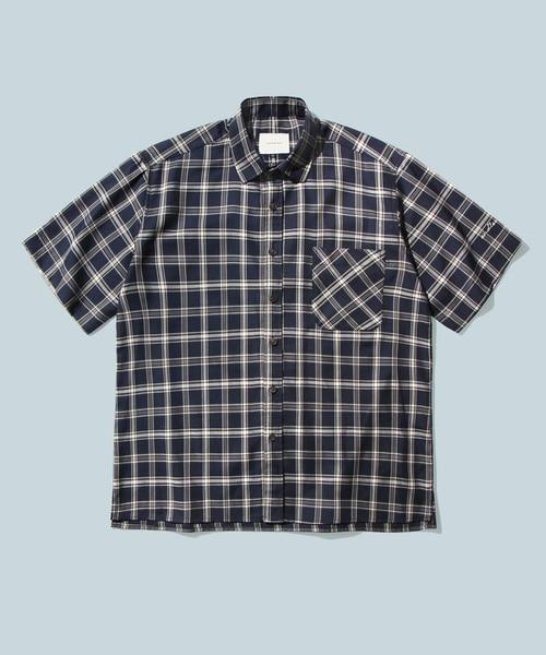 *DIAMOND LAYLA*エンドレスラブネイビー&アイボリーチェック1/2シャツS20