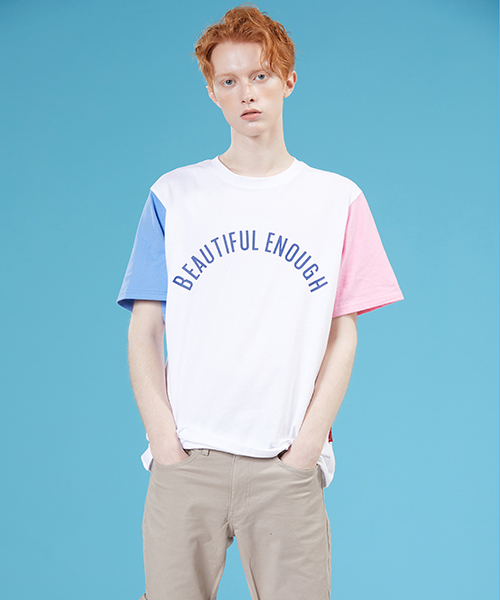 *MOTIVESTREET*カラーブロックTシャツホワイトピンク
