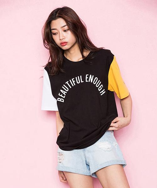 *MOTIVESTREET*カラーブロックTシャツブラック