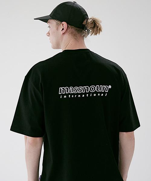 *Massnoun*SL INTロゴオーバーサイズドTシャツMSETS007-BK