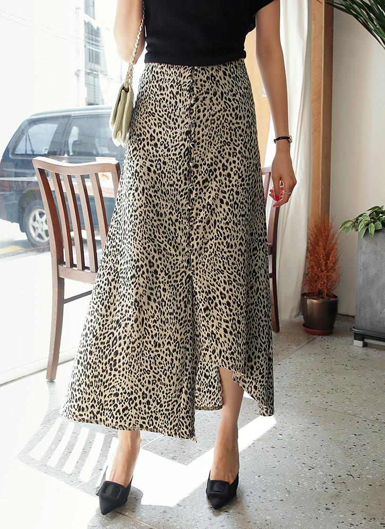 アンバランスレオパードスカート・全2色