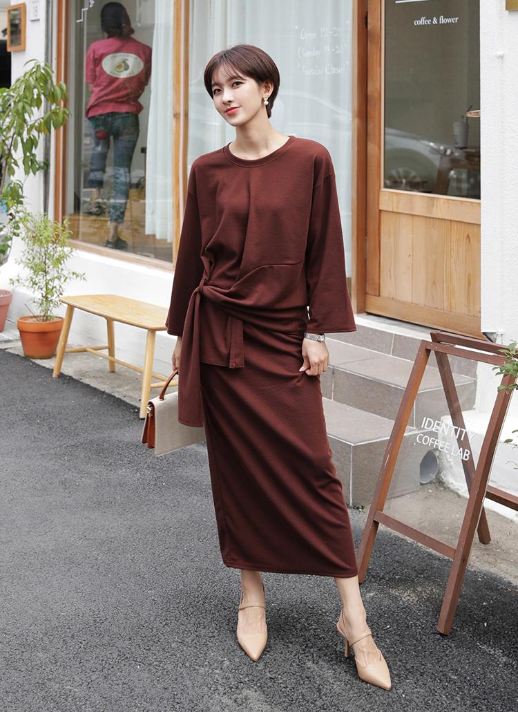 ディテールTシャツ&スカートSET・全3色