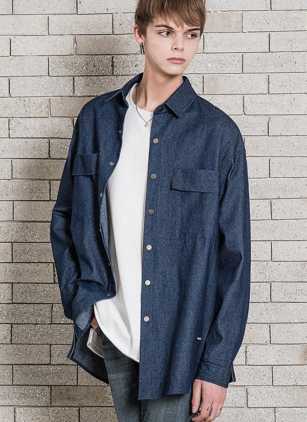 *MINAV*ユニセックスデニムジッパーフィールドシャツジャケット(インディゴ)