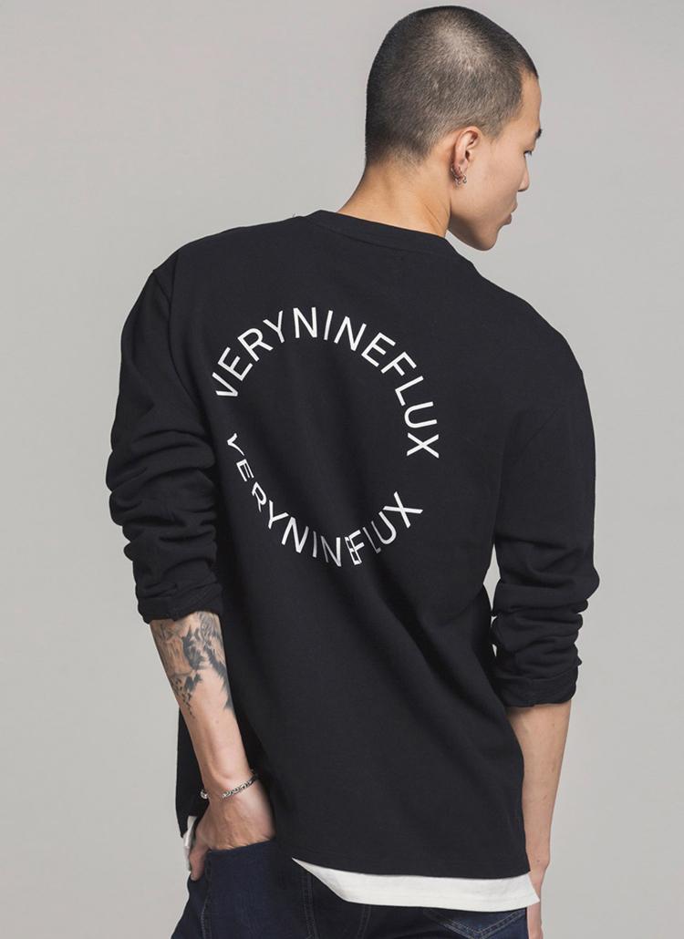 *Verynineflux*サークルプリントTシャツ(ブラック)