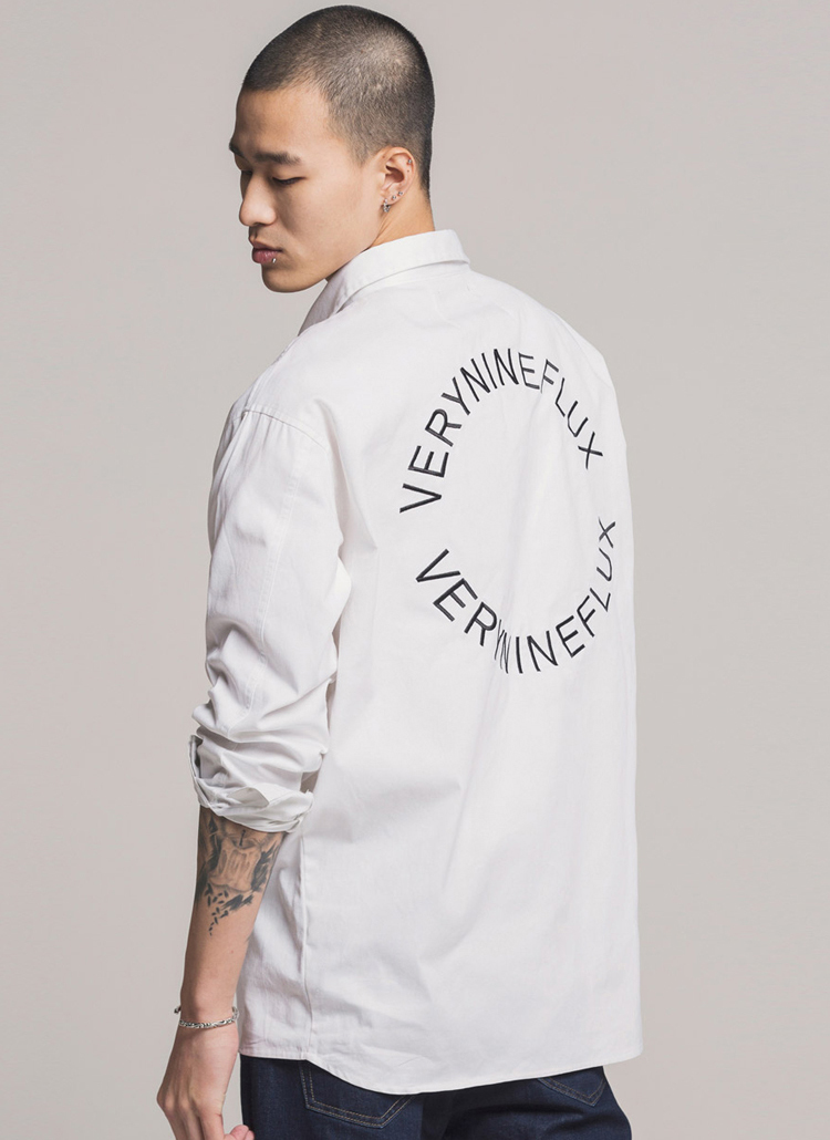 *Verynineflux*サークルプリントシャツ(ホワイト)