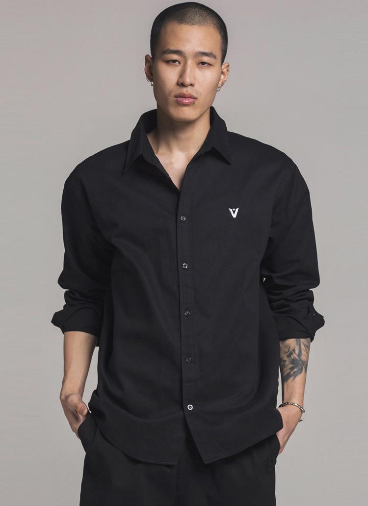 *Verynineflux*サークルプリントシャツ(ブラック)