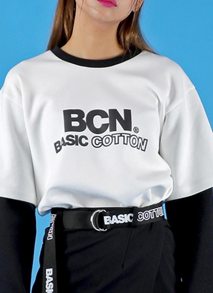 *BASIC COTTON*BCNロゴレイヤードTシャツ(ホワイト)