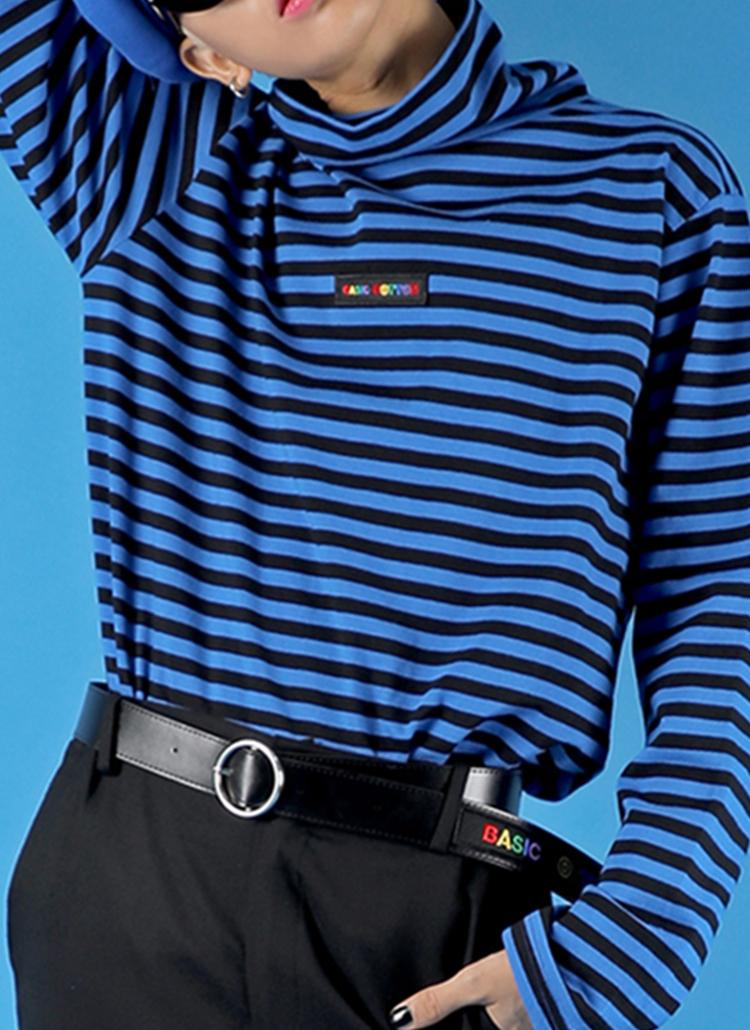 *BASIC COTTON*ボーダータートルネックTシャツ(ブルー)