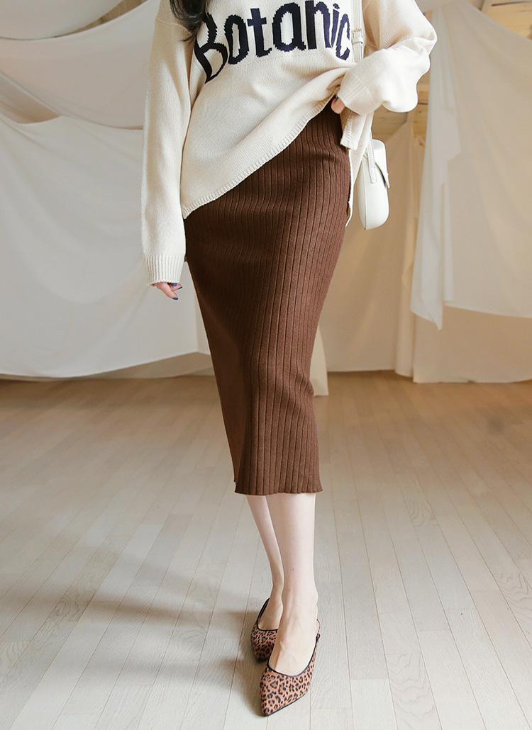リブニットスリットスカート・全3色