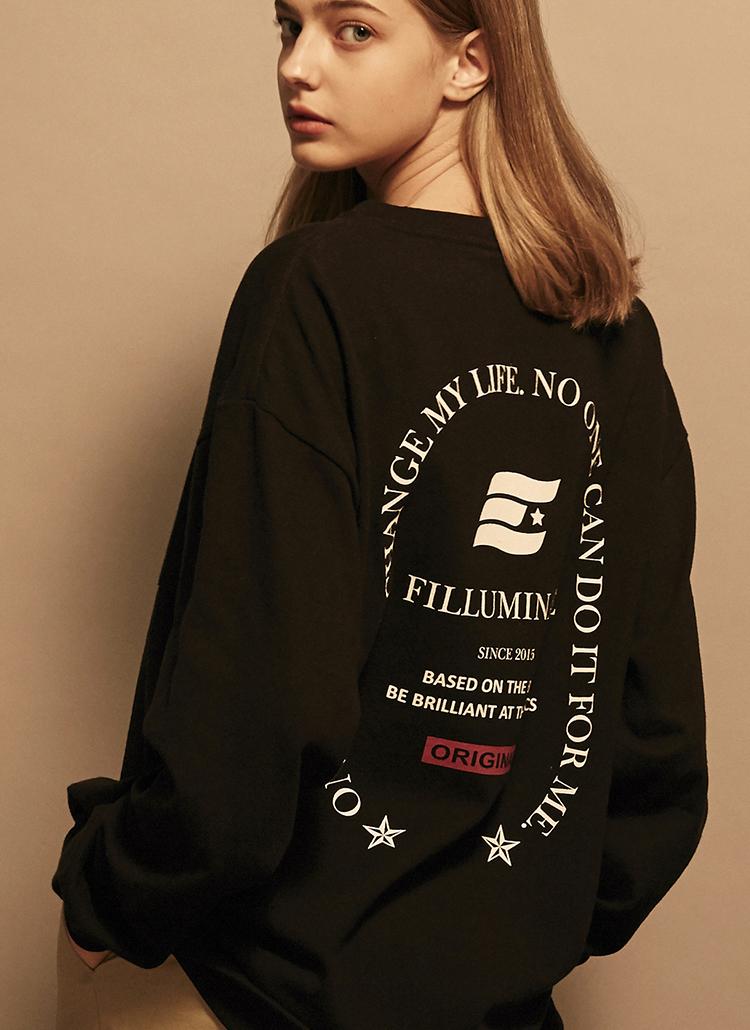 *F.ILLUMINATE*ユニセックスオーバーフィットローレルロゴTシャツ(ブラック)