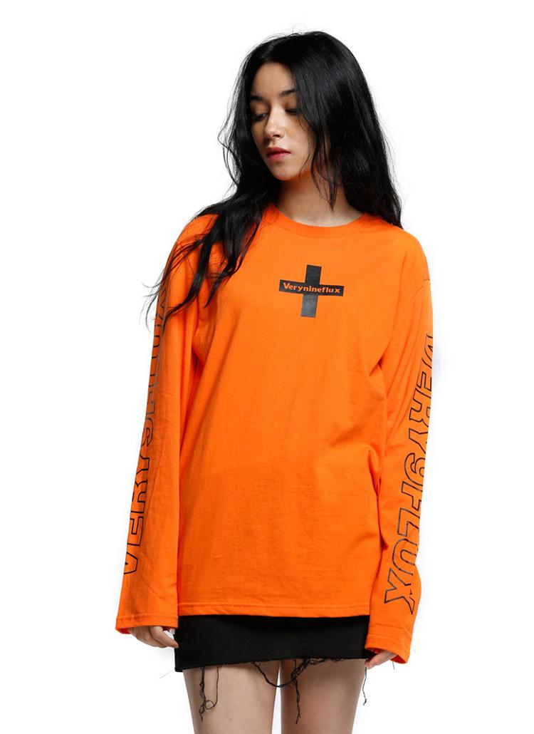 *Verynineflux*クロスポイントTシャツ(オレンジ)