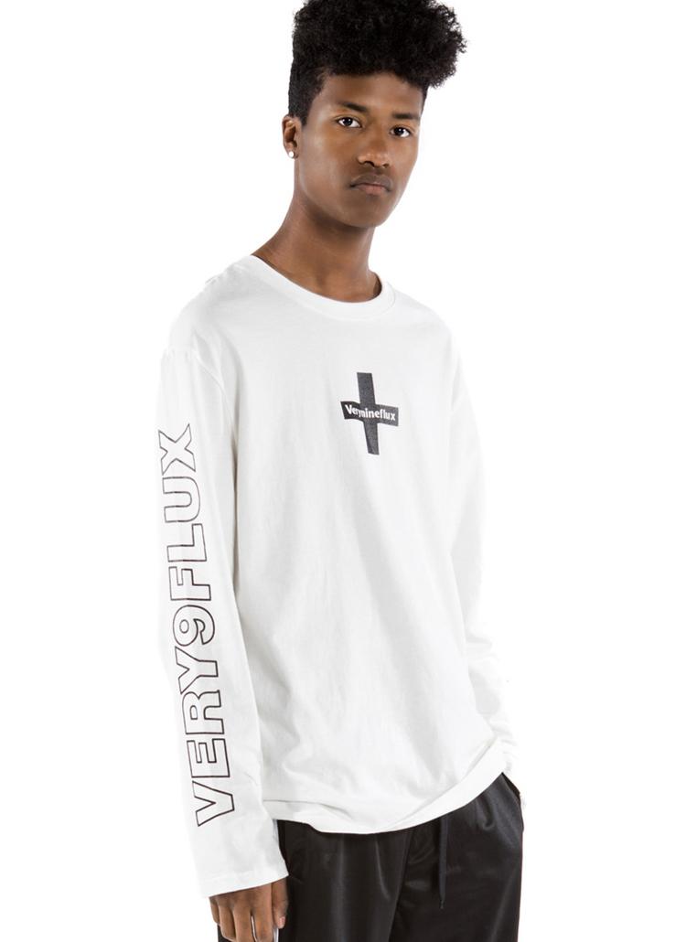 *Verynineflux*クロスポイントTシャツ(ホワイト)