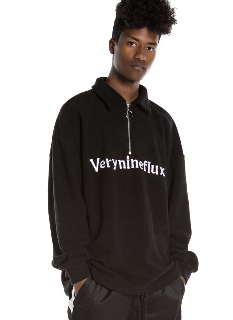 *Verynineflux*ハーフジップアップスウェット(ブラック)