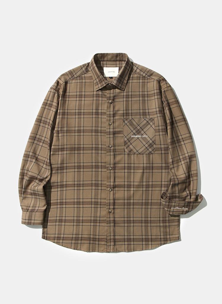 *DIAMOND LAYLA*フラフムードチェックシャツS24(ブラウン)