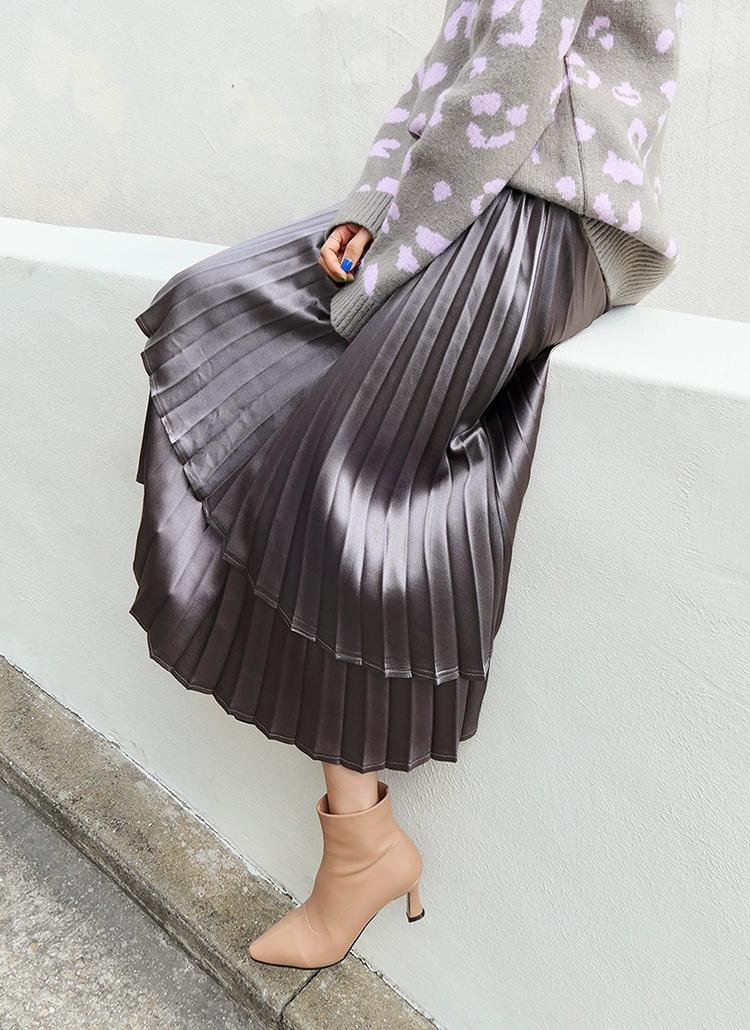 グロッシーレイヤードプリーツスカート・全2色