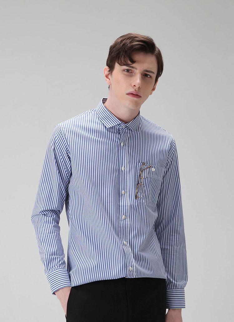 *HALB KREIS*SH-301スリムフィットシャツ(ブルーストライプ)
