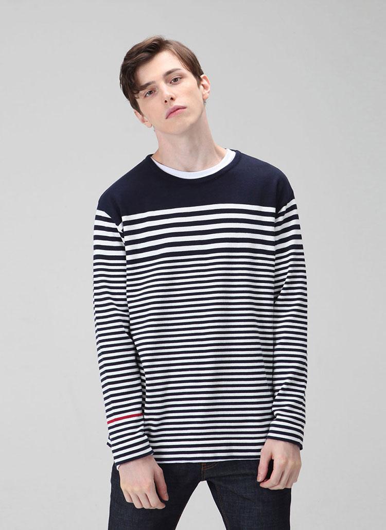 *HALB KREIS*KN-14ボーダーニットTシャツ(ネイビー)