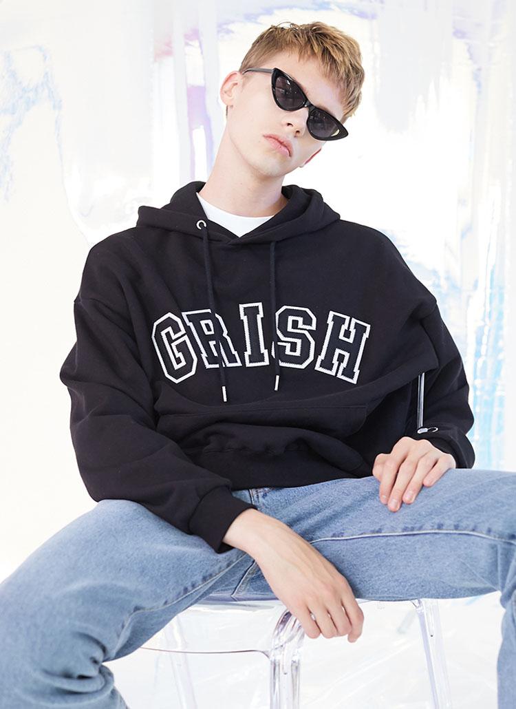*GRISH*シグネチャーロゴフーディ(ブラック)