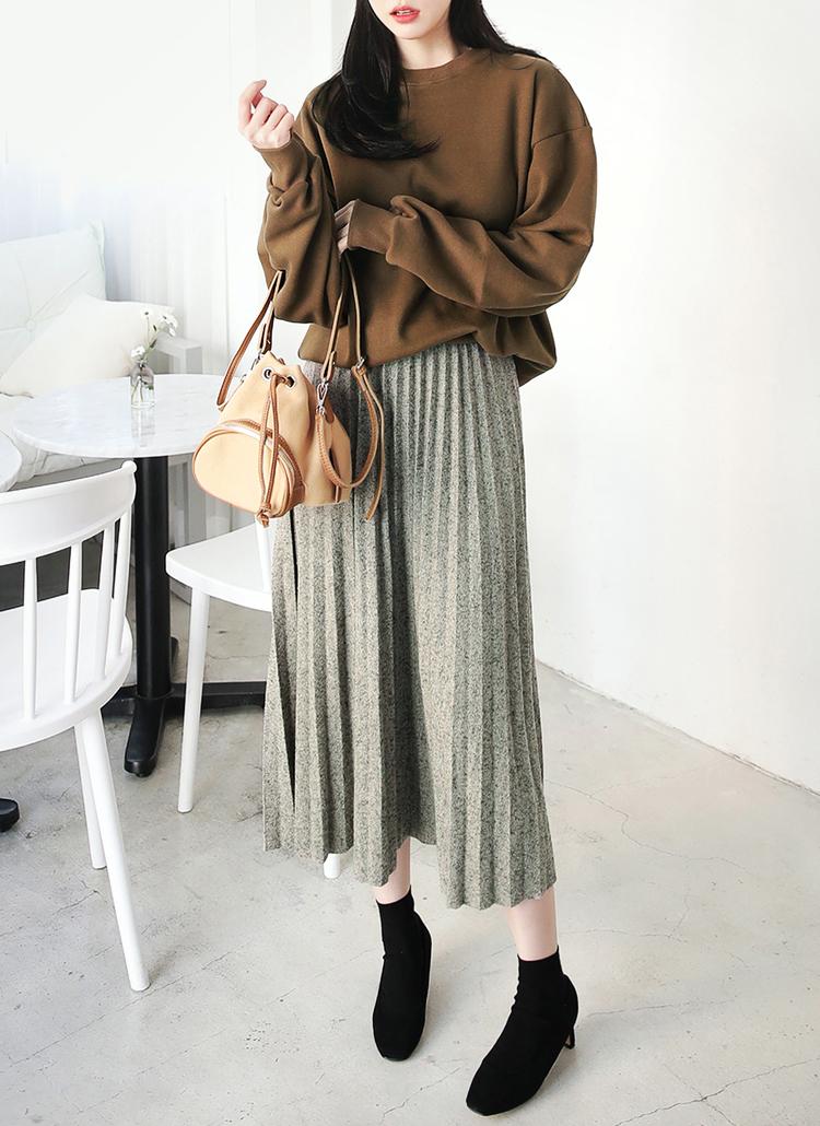 ウール混ロングプリーツスカート・全4色