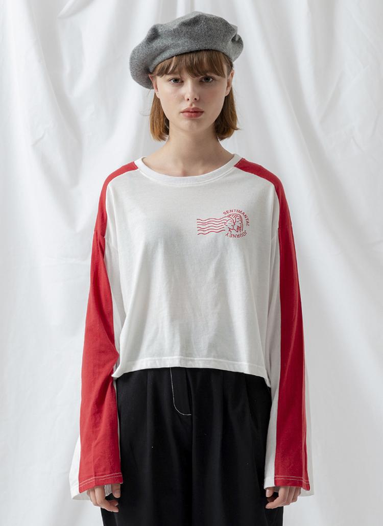 *SALADBOWLS*プリントクロップドTシャツ(アイボリー)