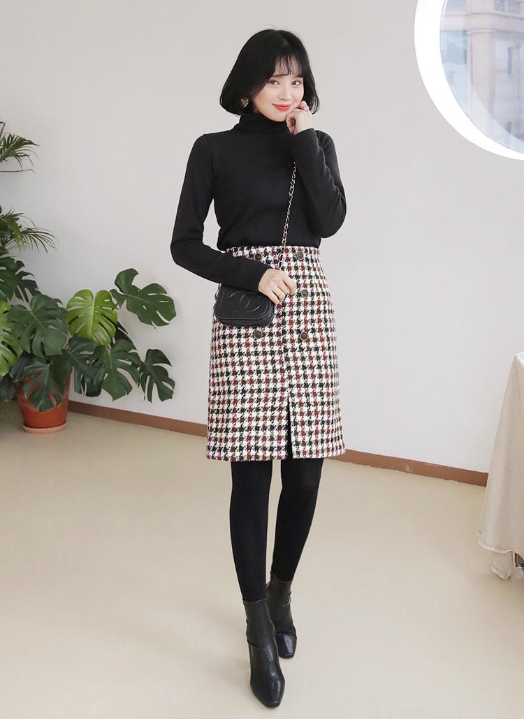 ハウンドトゥースボタンスリットスカート・全2色