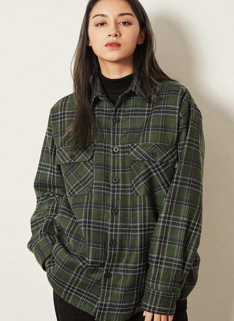 *F.ILLUMINATE*ウールミックスシンプルチェックシャツ(グリーン)