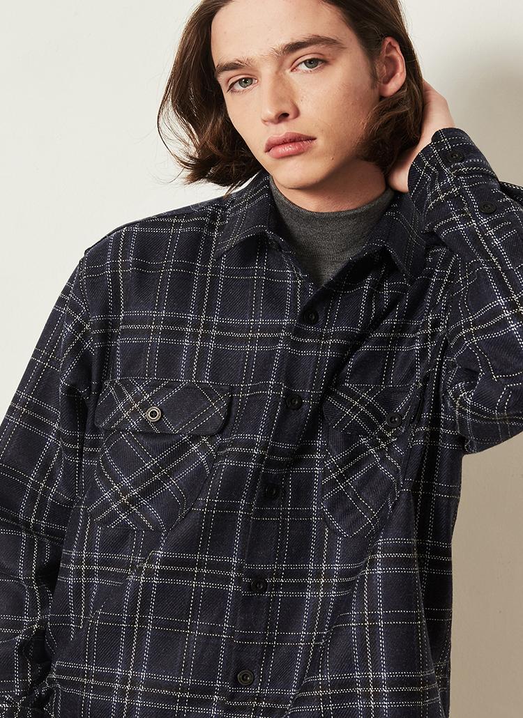 *F.ILLUMINATE*ウールミックスシンプルチェックシャツ(ブルー)