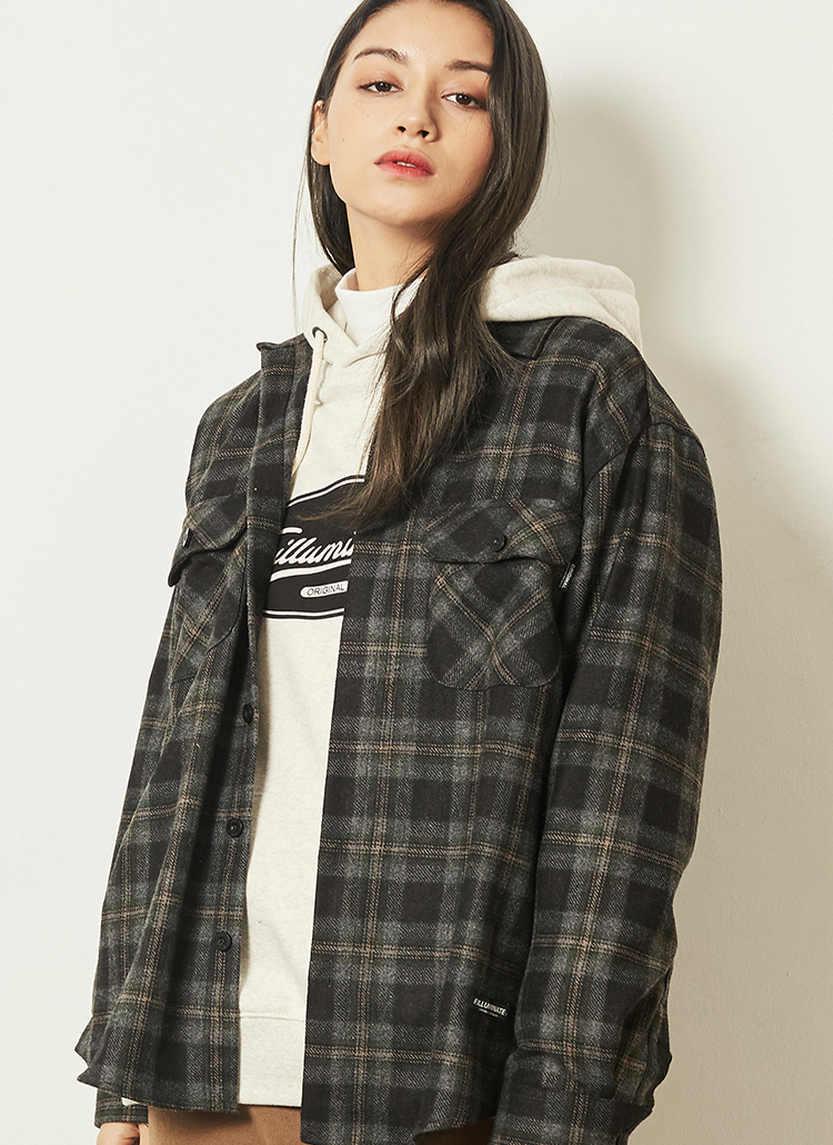 *F.ILLUMINATE*オンブレチェックシャツジャケット(グリーン)