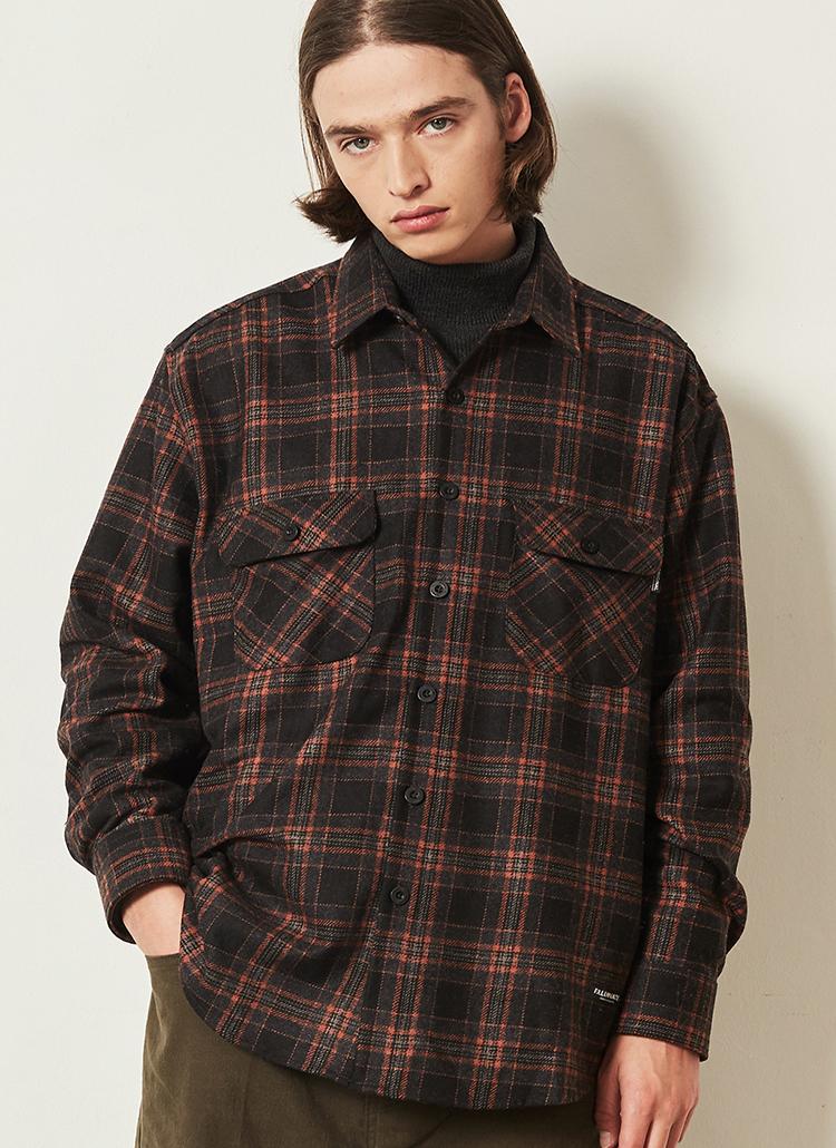 *F.ILLUMINATE*オンブレチェックシャツジャケット(オレンジ)
