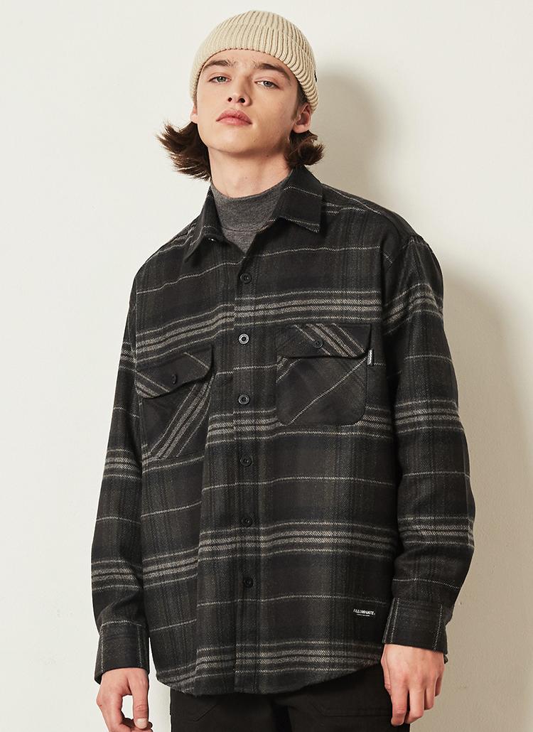 *F.ILLUMINATE*ボーダーチェックシャツジャケット(ブラウン)