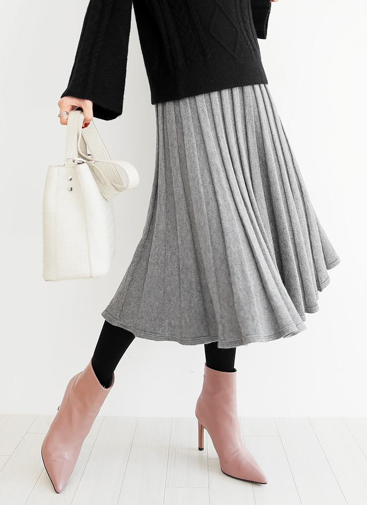 プリーツニットフレアスカート・全2色