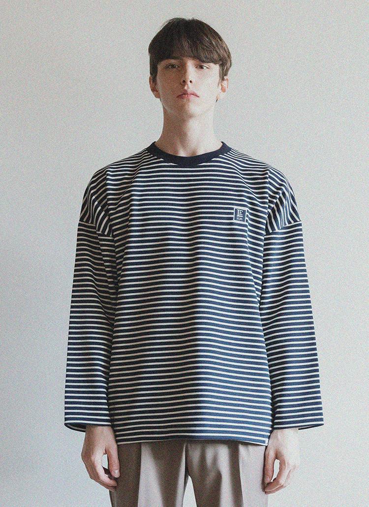 *LIEU HOMME*スクエアパッチボーダーTシャツ