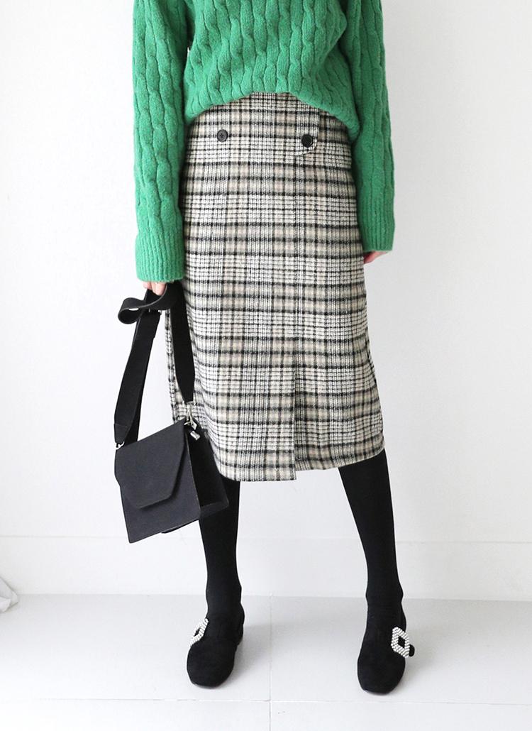 チェックダブルボタンスカート・全2色