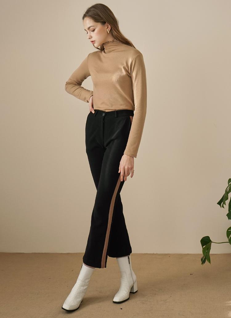 カラー配色スリムブーツカットパンツ(ブラック)