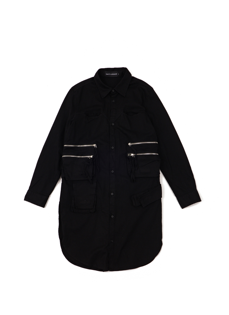 ジッパーディテールロングシャツ(ブラック)