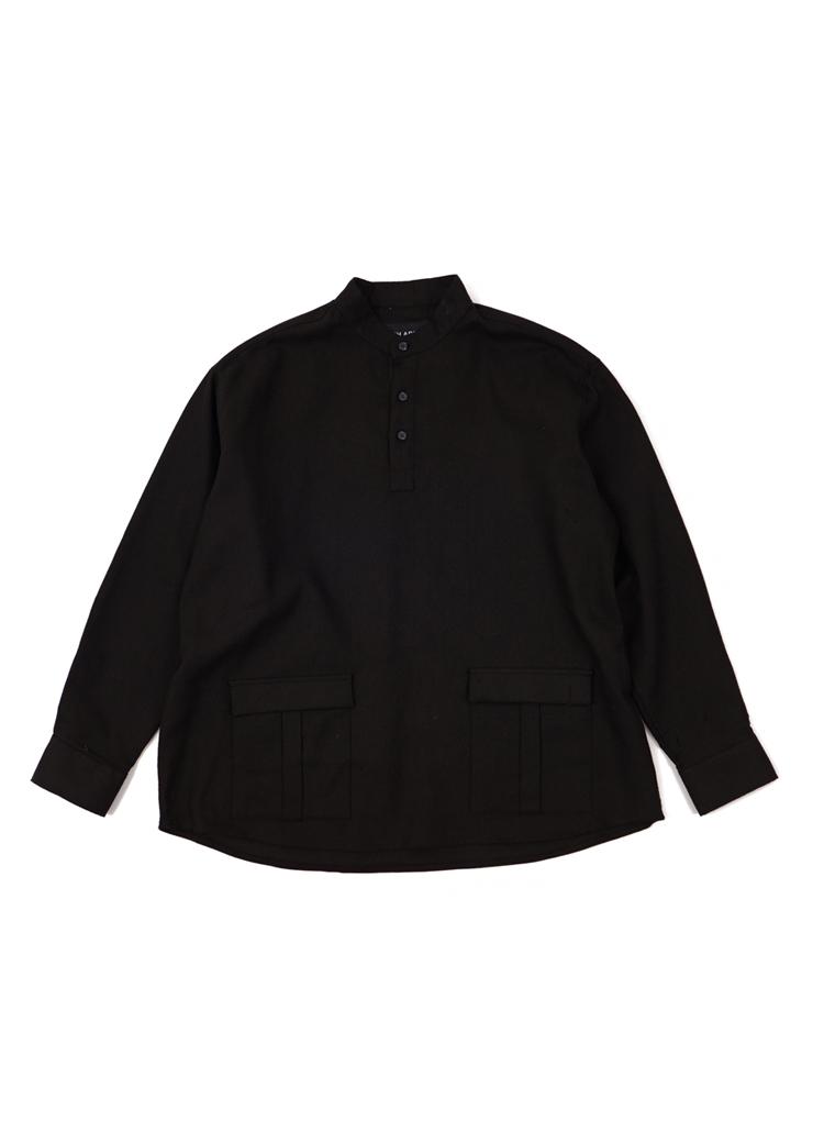 ダブルポケットヘンリーネックシャツ(ブラック)