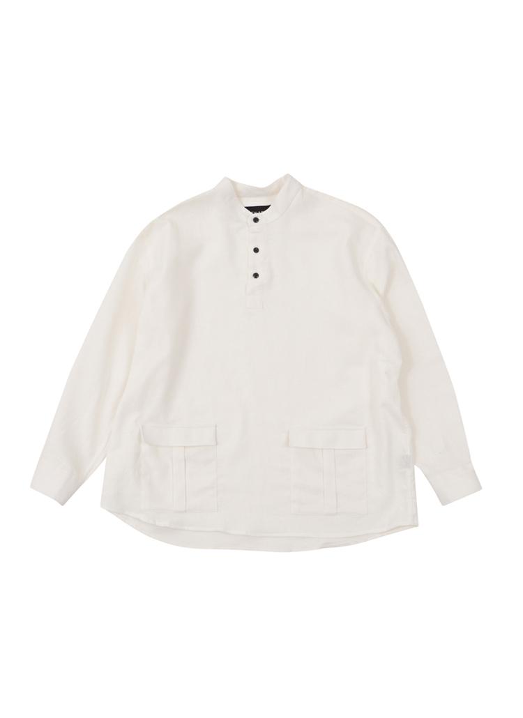 ダブルポケットヘンリーネックシャツ(アイボリー)