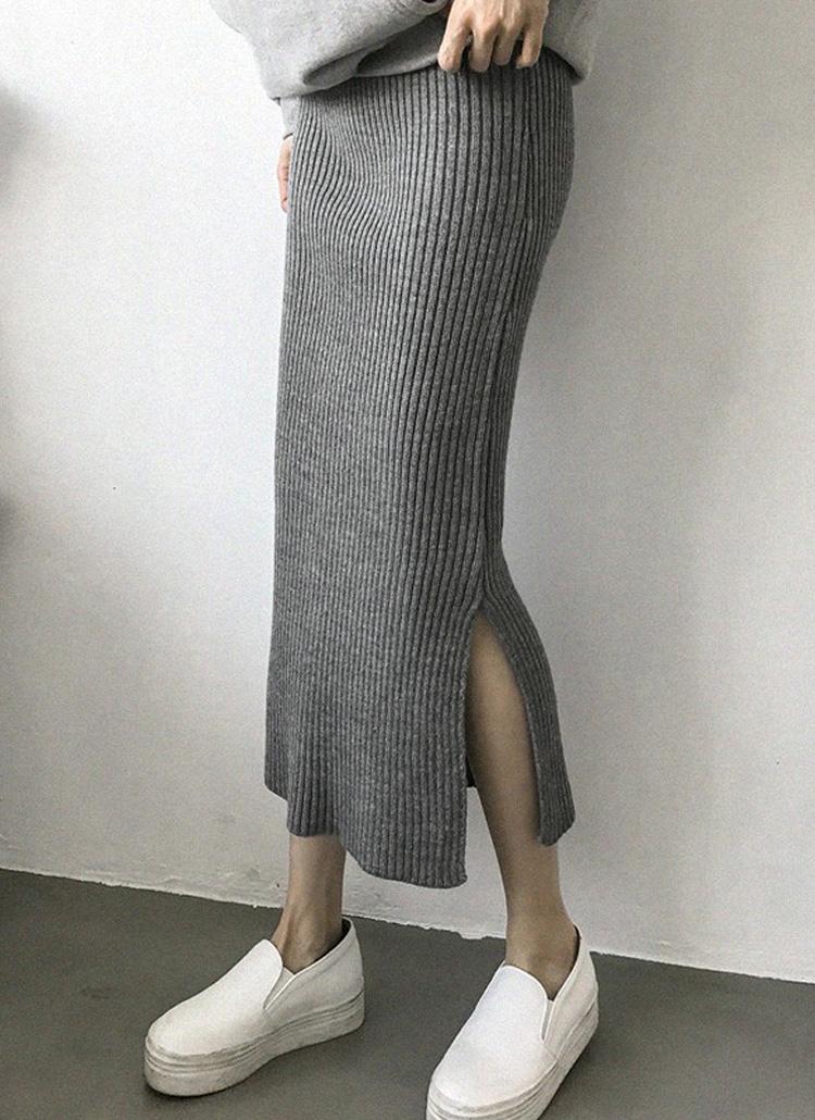 スリットヘムリブロングスカート