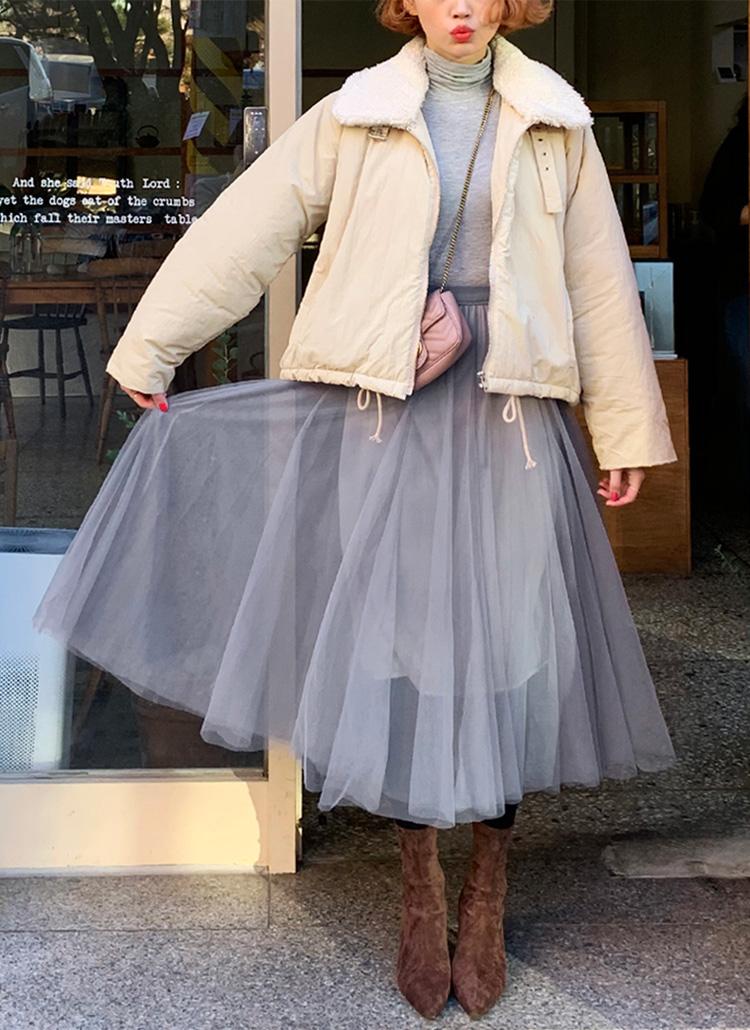 Aラインロングチュールスカート・全5色