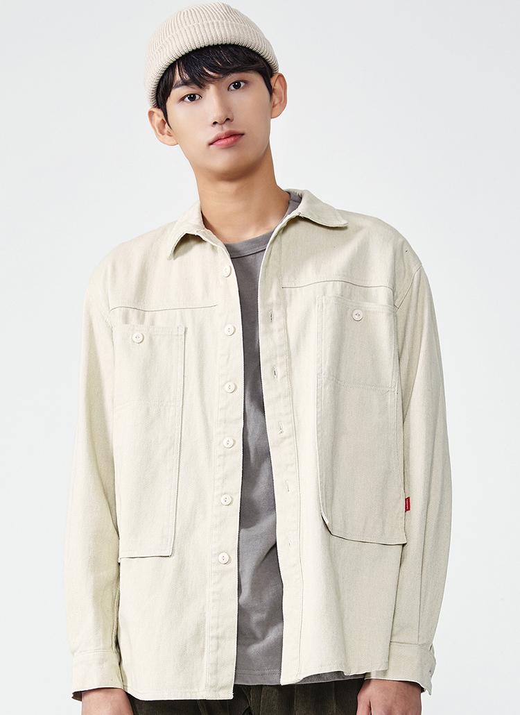 ウォッシュドコットンシャツジャケット(アイボリー)