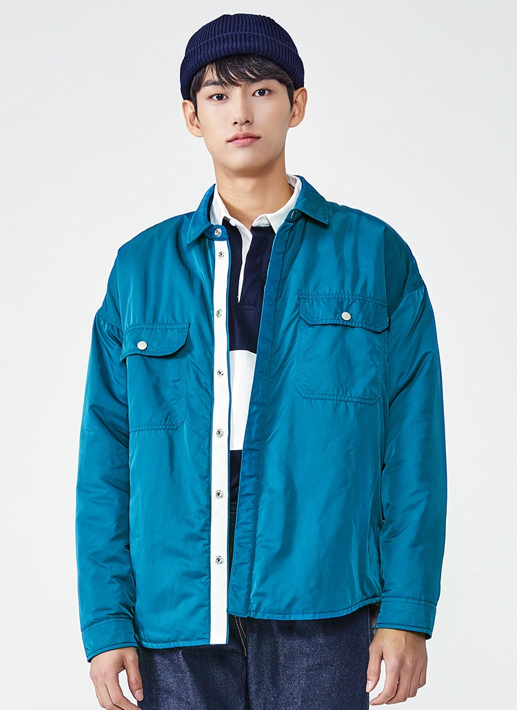 中綿シャツジャケット(ブルーグリーン)