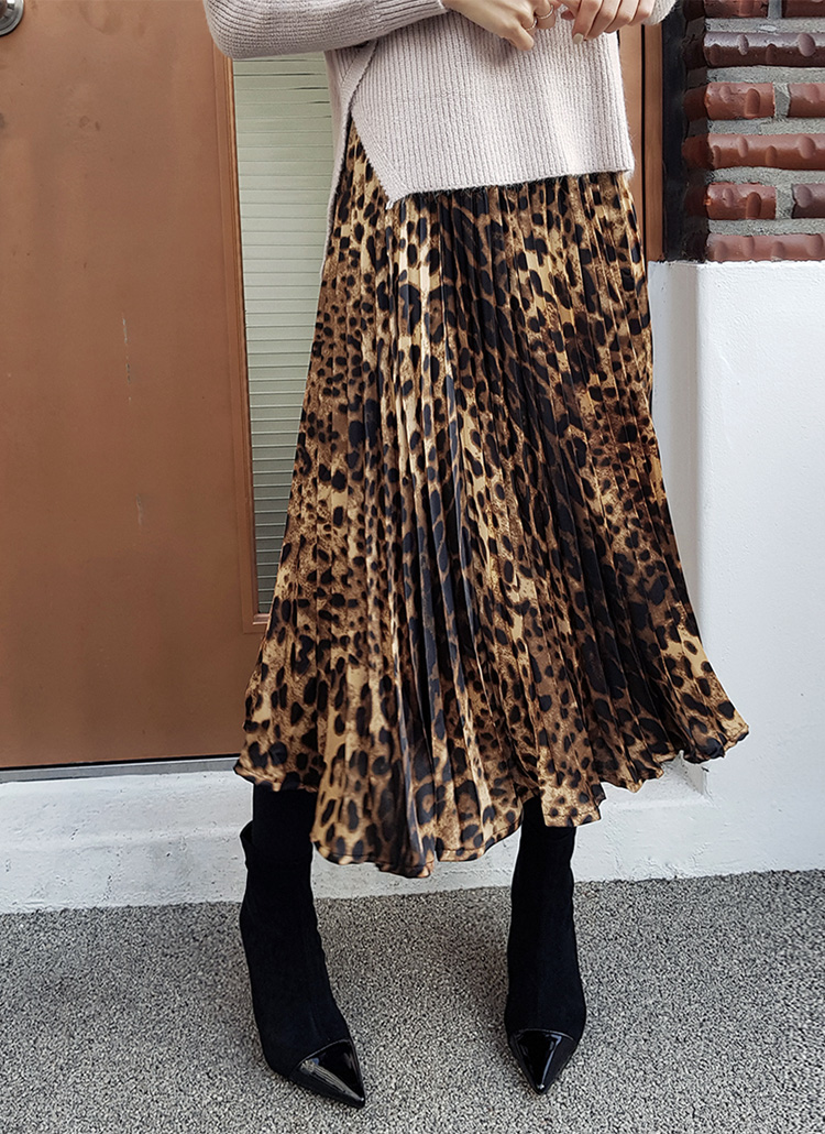 ウエストゴムプリーツレオパードスカート・全3色