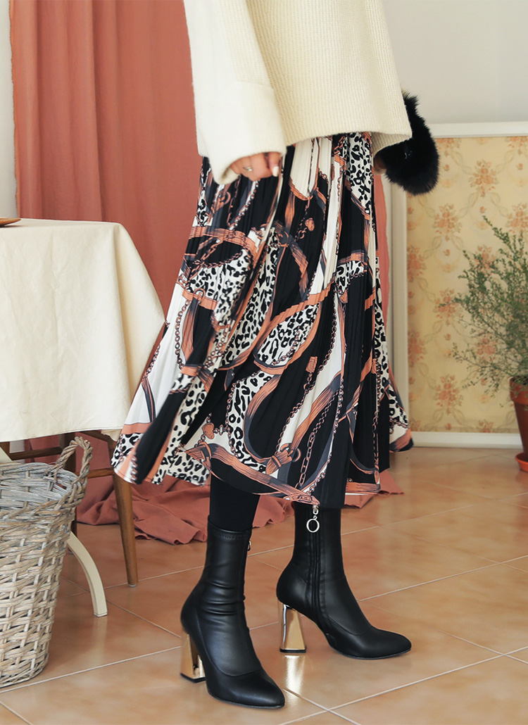 ユニークパターンプリーツスカート・全2色