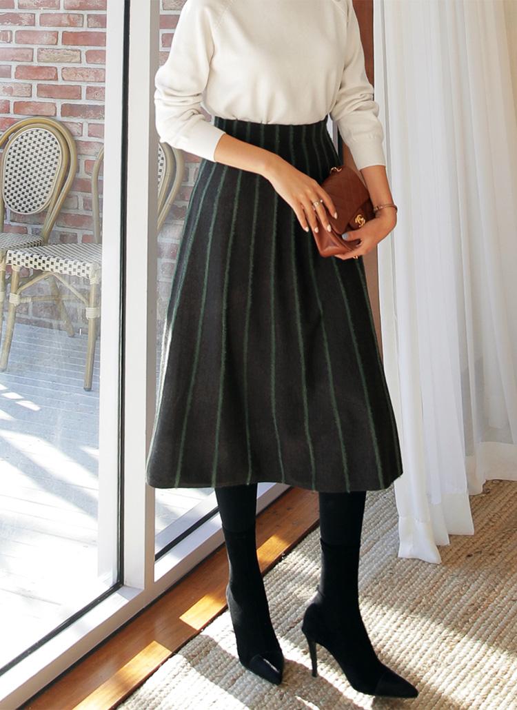 アンゴラライクラインスカート・全3色