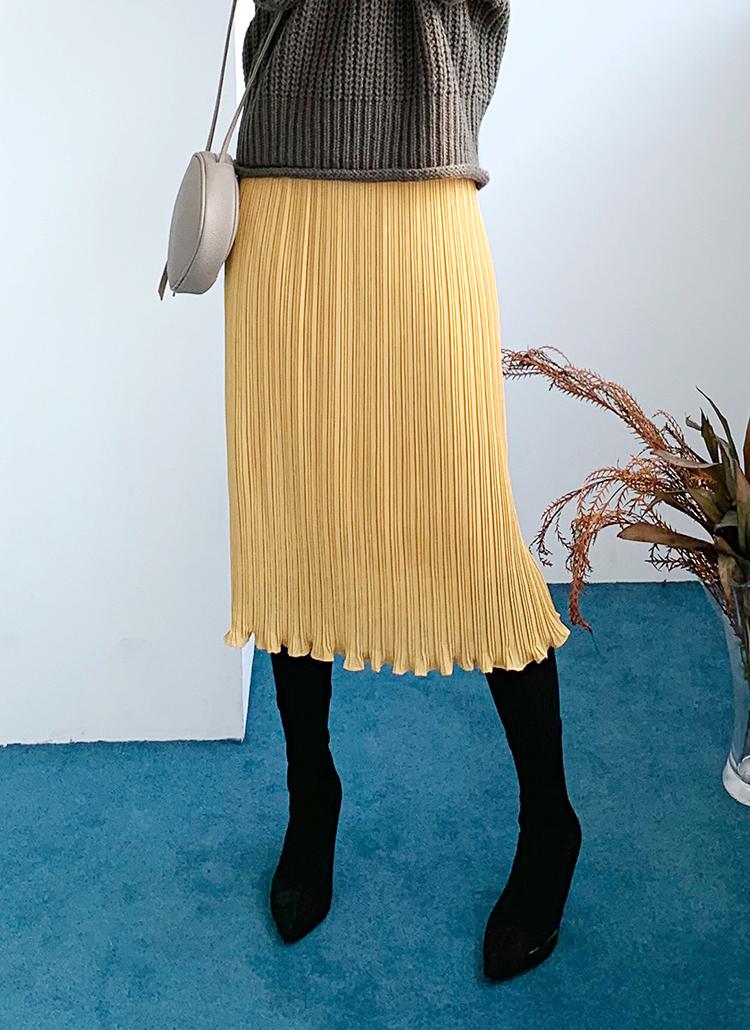 ウェーブヘムプリーツスカート・全4色